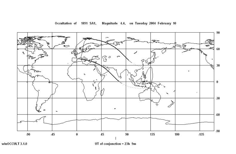 Zakrycie theta Panny, 10 lutego 2004
