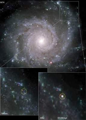 M74 przed i po wybuchu supernowej