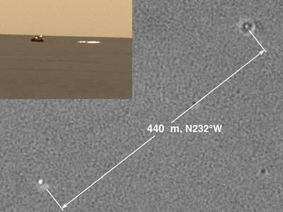 Opportunity fotografuje spdochron iosłonę