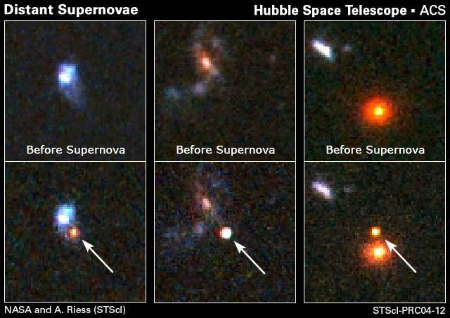 Trzy najdalsze supernowe