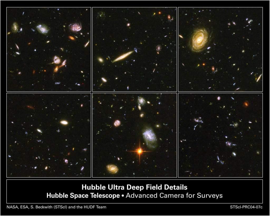 Ultragłębokie Pole Hubble'a - powiększenia