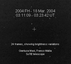 Ruch 2004 FH na tle gwiazd