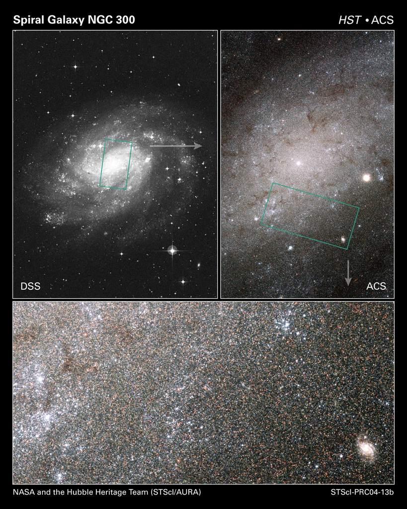 Galaktyka NGC 300 w trzech skalach.