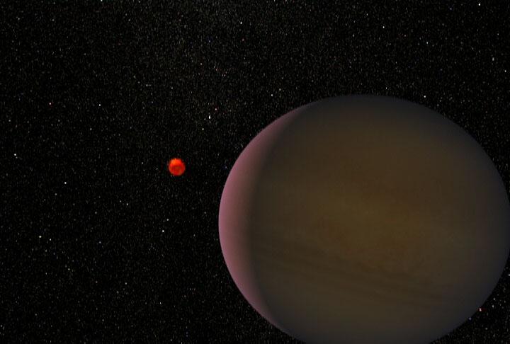Artystyczna wizja planety odkrytej dzięki mikrosoczewkowaniu