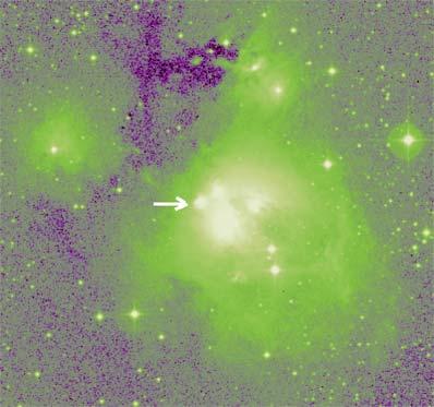 Młoda gwiazda LkHα 234, na którą spadła kometa.