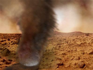Marsjański wir pyłowy - wizja artysty