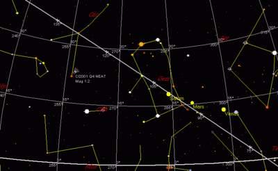 Położenie C/2001 Q4 12 maja 2004, godzina 22:00