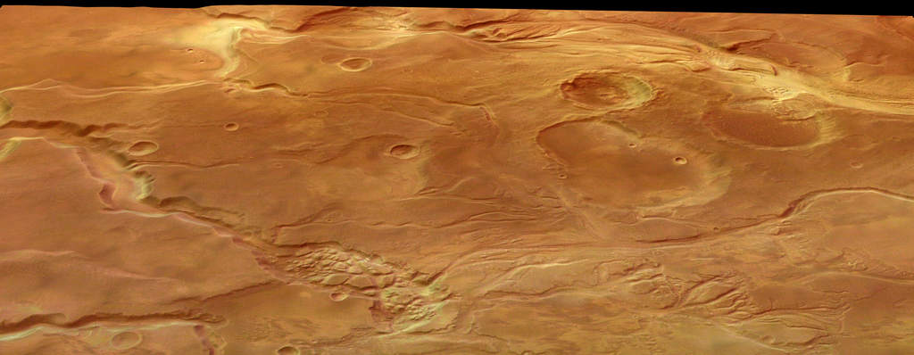 Mars Express ogląda Mangala Valles na Marsie - z perspektywy