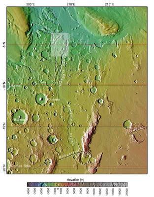 Mapa części rejonu Mangala Valles