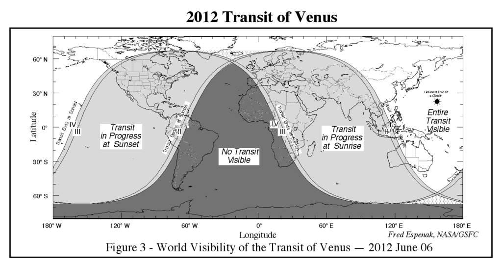 Obszar widoczności tranzytu Wenus 6 czerwca 2012 roku