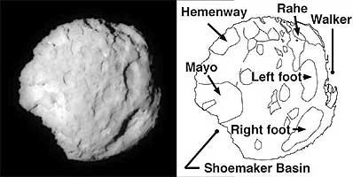 Jądro komety Wild 2 - mapa