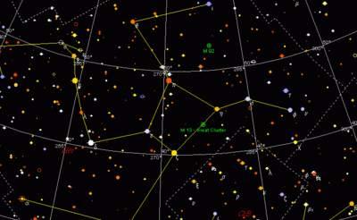 Herkules - mapa gwiazdozbioru