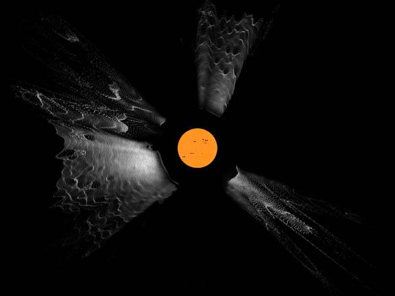 Koronalny wyrzut masy - przekrój orbazu 3D