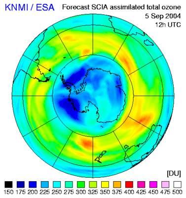 Diagram grubości warstwy ozonowej z5 września
