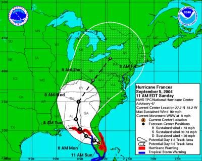 Prognoza trasy huraganu Frances