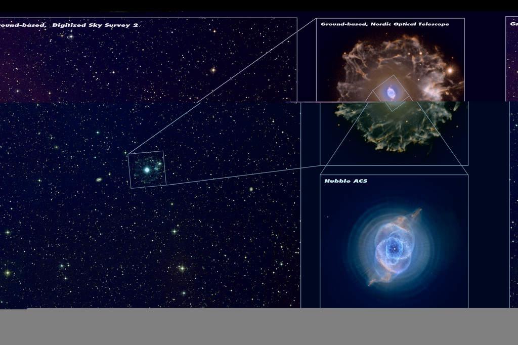 Mgławica Kocie Oko NGC 6543 (schemat obserwacji)