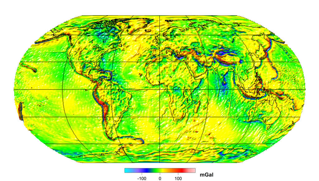 Mapa Ziemskiego pola gravitachyjnego (CHAMP-GRACE)