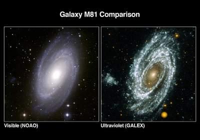 Galaktyka wróżnych zakresach światła