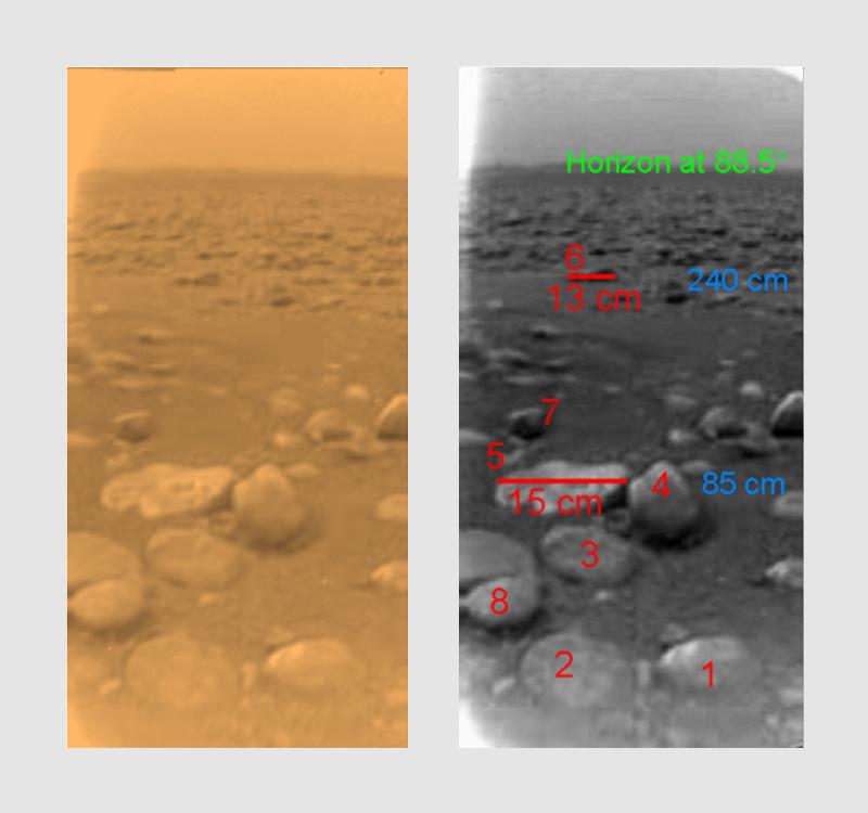 Rozmiary na pierwszym kolorowym zdjęciu z powierzchni Tytana