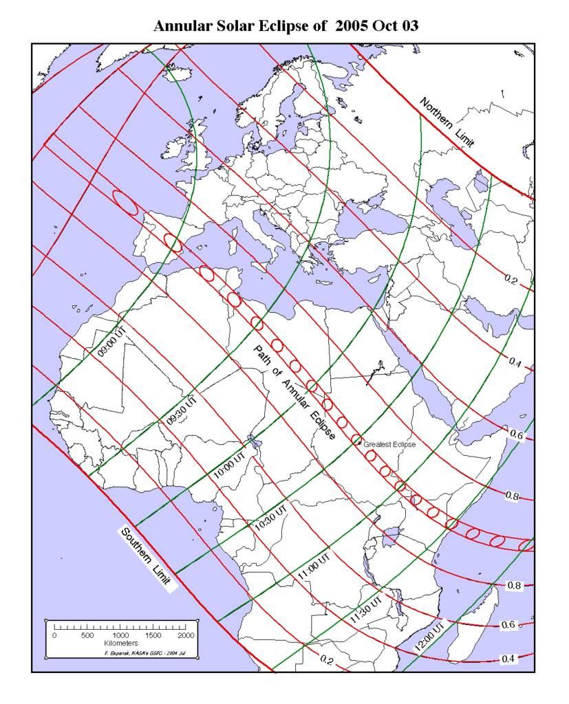 Obrączkowe zaćmienie Słońca 3 października 2005 wEuropie iAfryce
