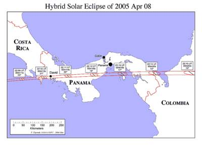 Zaćmienie Słońca 8 kwietnia 2005 - Kostaryka i Panama
