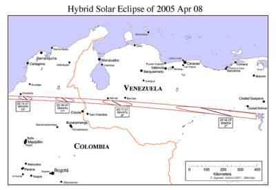 Zaćmienie Słońca 8 kwietnia 2005 - Kolumbia i Wenezuela