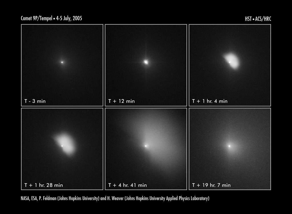 Tempel 1 przed i po uderzeniu Deep Impact widziana z Hubble'a