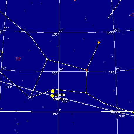 Wenus i Jowisz, 1 września 2005, 20:00