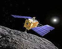 Hayabusa pobierająca materiał planetoidy