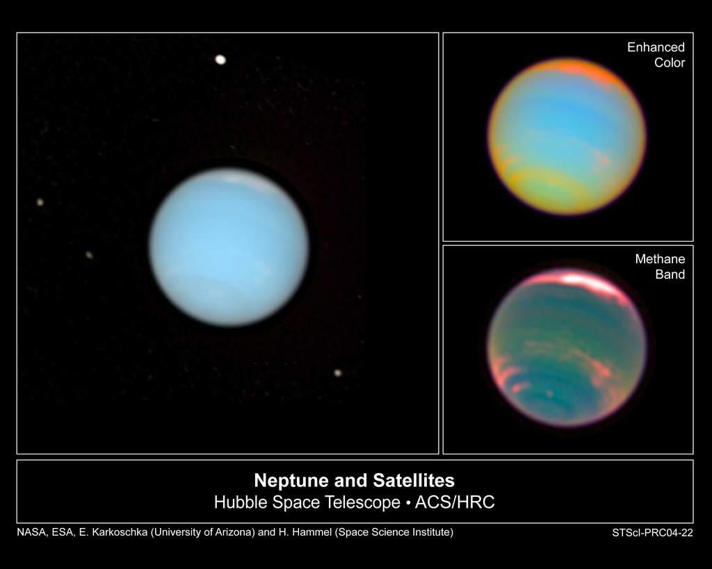 Trzy ujęcia Neptuna pochodzące z filmu wykonanego przez Teleskop Hubble'a