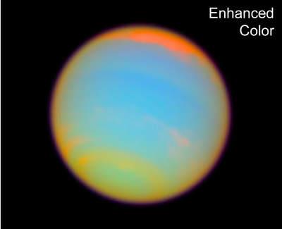 Podkorowane ujęcie Neptuna pochodzące z filmu wykonanego przez Teleskop Hubble'a
