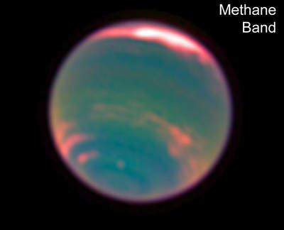 Ujęcie Neptuna w paśmie metanu pochodzące z filmu wykonanego przez Teleskop Hubble'a