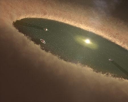 artystyczna wizja młodego układu planetarnego