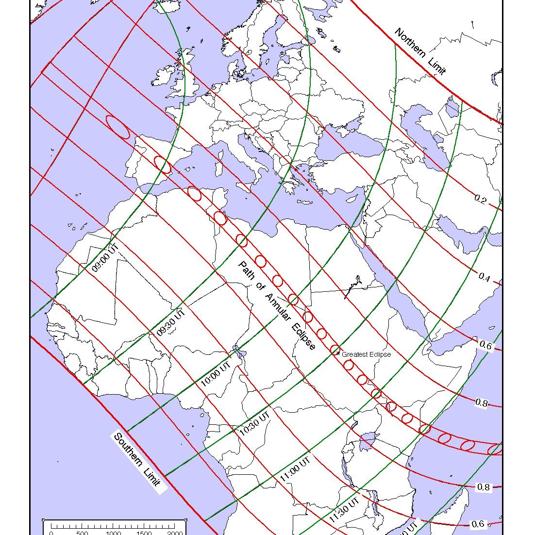 Zaćmienie 3-10-2005, Europa i Afryka