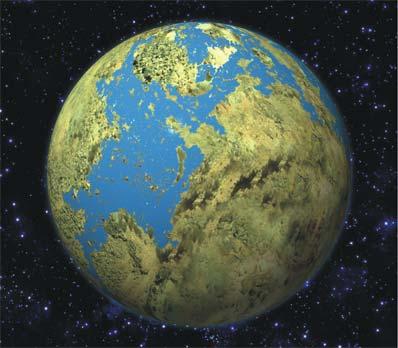 artystyczna wizja planety podobnej do Ziemi