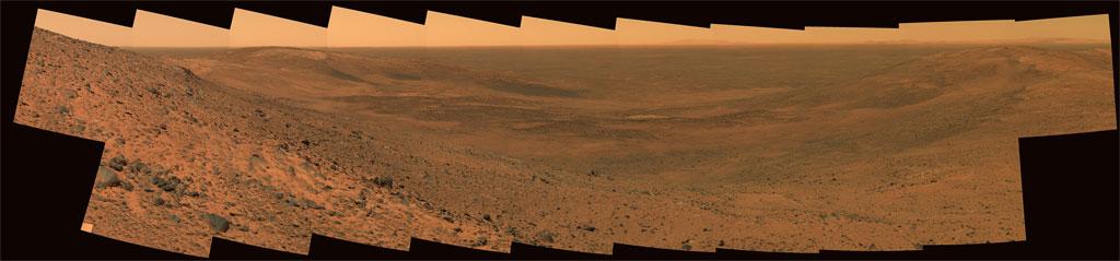 Panorama 'East Basin' wykonana przez łazik Spirit