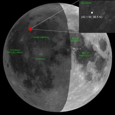 Miejsce uderzenia księżycowego meteorytu