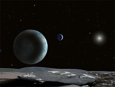Pluton i Charon widziane z potencjalnego satelity