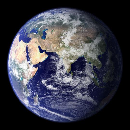 Ziemia widoczna od wschodniej półkuli