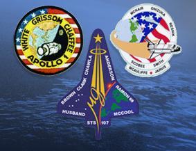 Emblematy trzech misji NASA zakończonych tragedią.