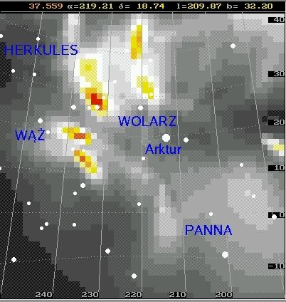 Aktywność meteorów w rejonie gwiazdozbiorów Wolarz, Korona Północna, Wąż