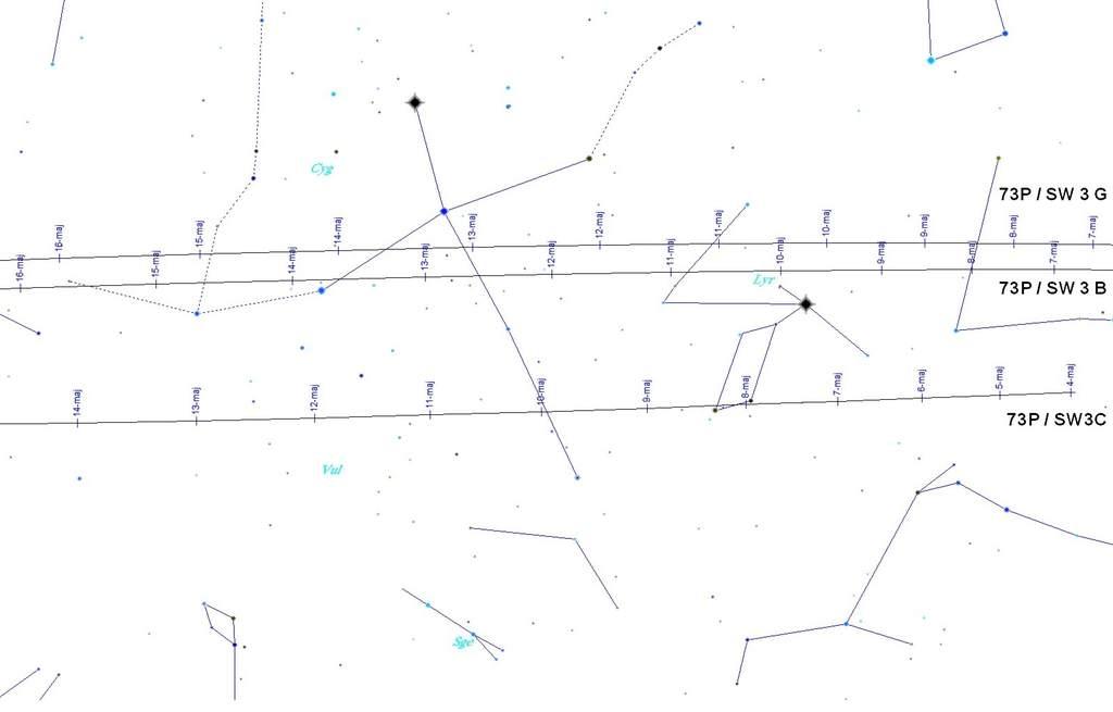 Mapa przelotu komety 73P/ Schwassmann-Wachmann 3