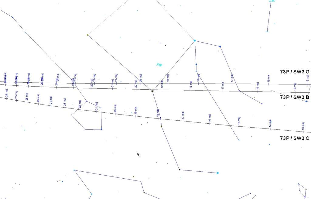 Mapa przelotu komety 73P/ Schwassmann-Wachmann 3  - druga połowa maja