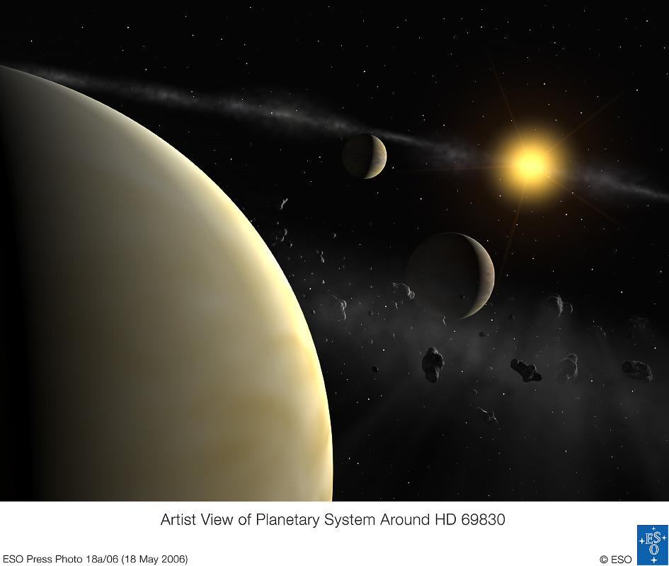 Trzy planety neptunowe - wizja artystyczna