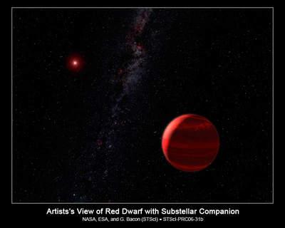 Czerwony karzeł CHXR 73 ijego towarzysz - artystyczna wizja