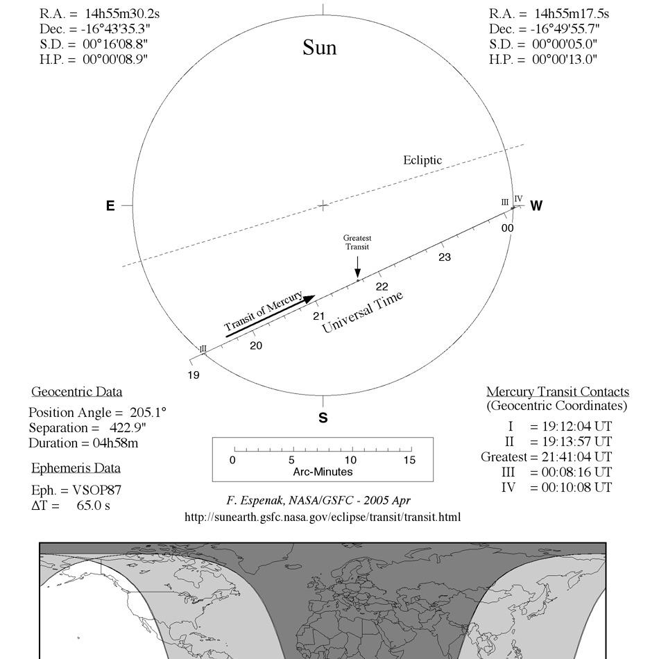 Tranzyt Merkurego, 8 listopada 2006