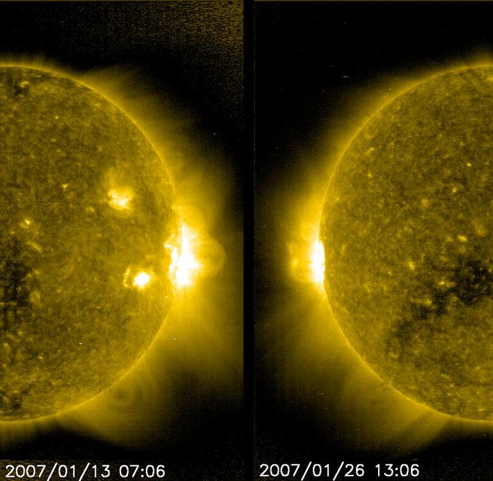 SOHO  - region wzmożonej aktywności na Słońcu 02.2007