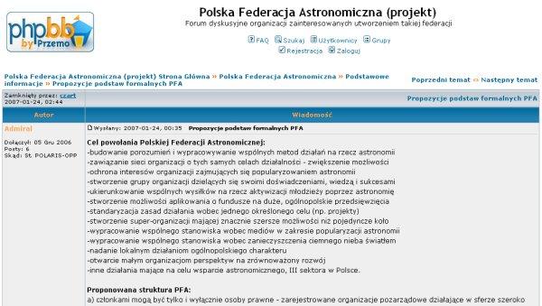 Forum Polskiej Federacji Astronomicznej