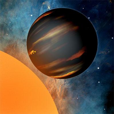 Ilustracja atmosfery gorącego jowisza