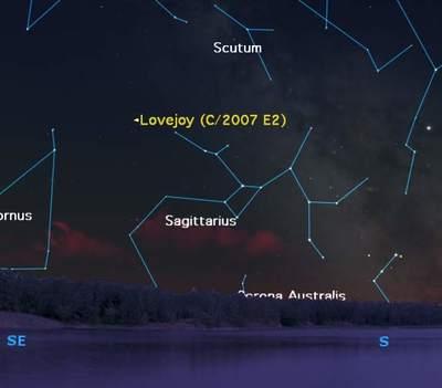 Położenei komety Lovejoy wkwietniu 2007